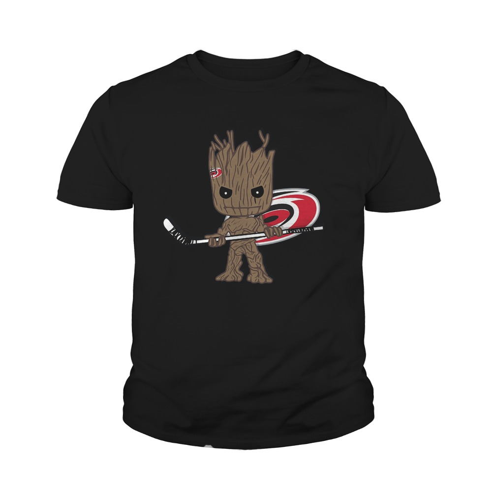 Baby Groot I Am Ice Hockey Player Team Carolina Hurricanes T-Shirt Youth Tee