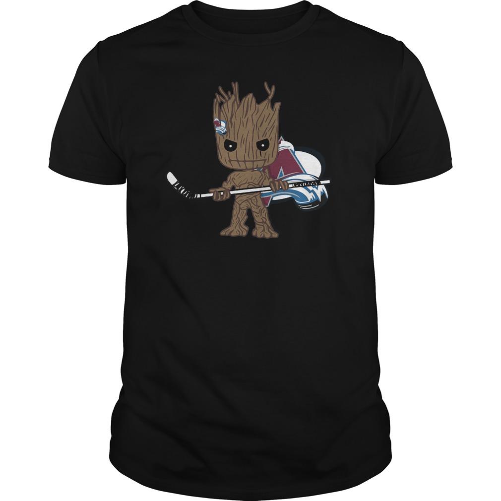 Baby Groot I Am Ice Hockey Player Team Colorado Avalanch T-Shirt Guys Tee