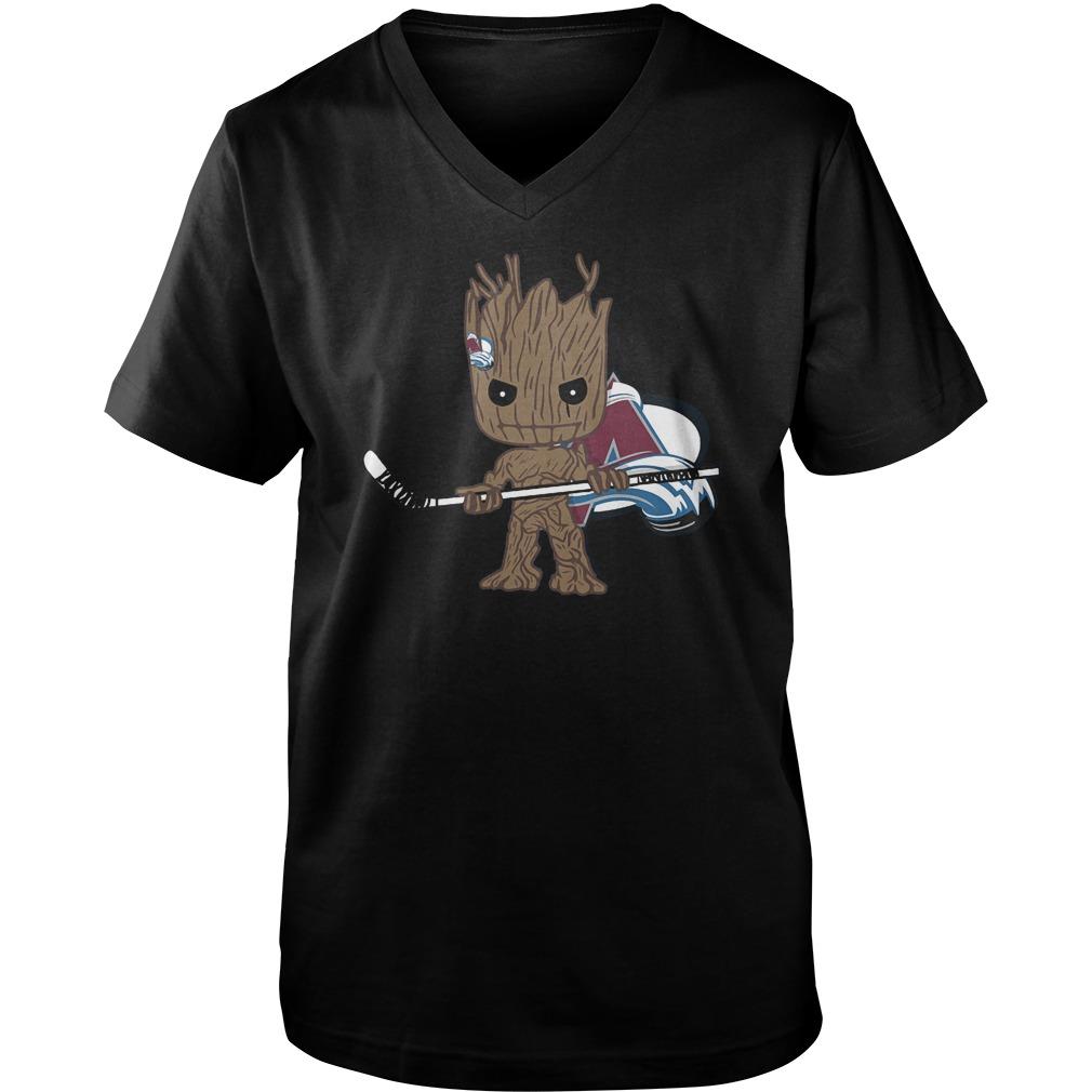 Baby Groot I Am Ice Hockey Player Team Colorado Avalanch T-Shirt Guys V-Neck