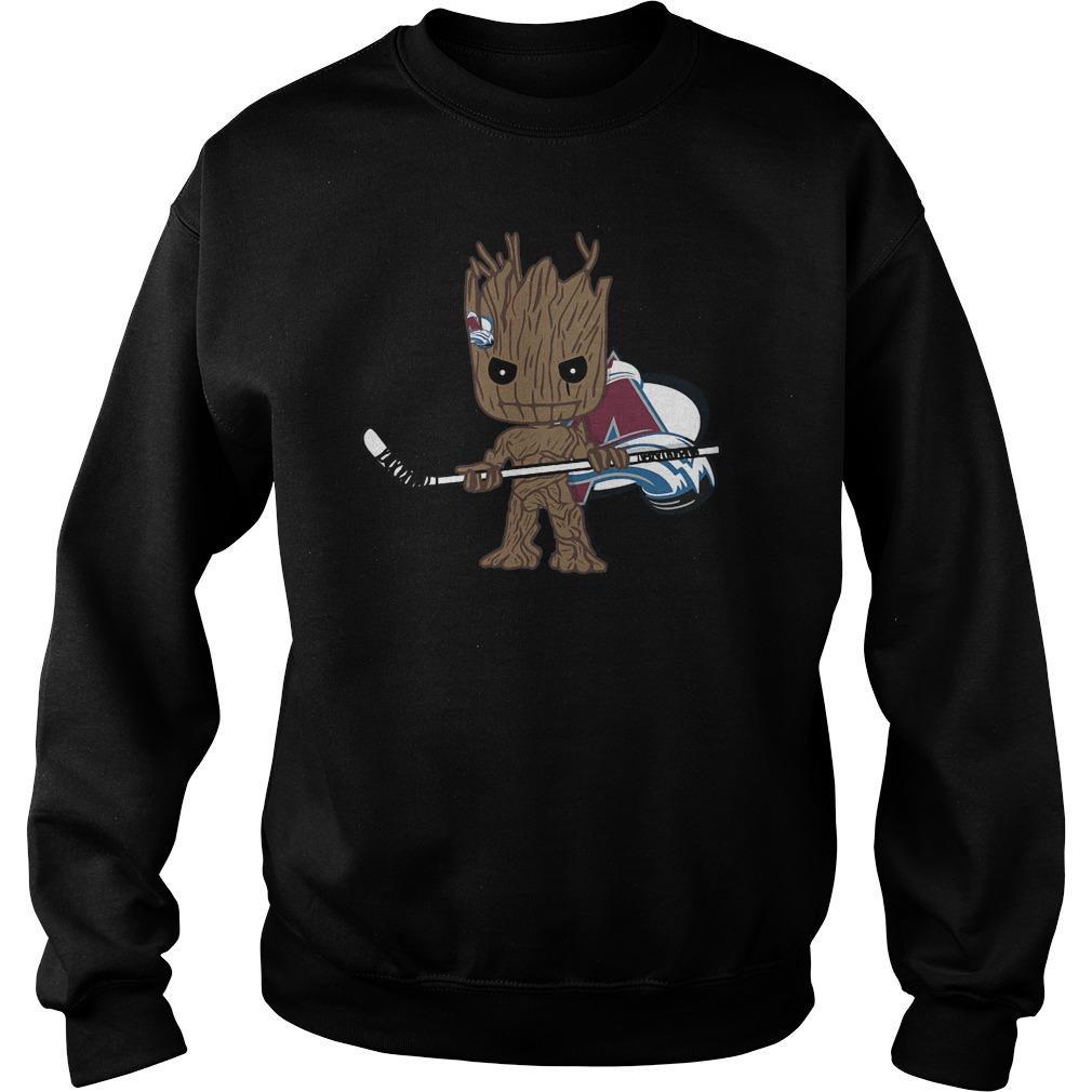 Baby Groot I Am Ice Hockey Player Team Colorado Avalanch T-Shirt Sweat Shirt