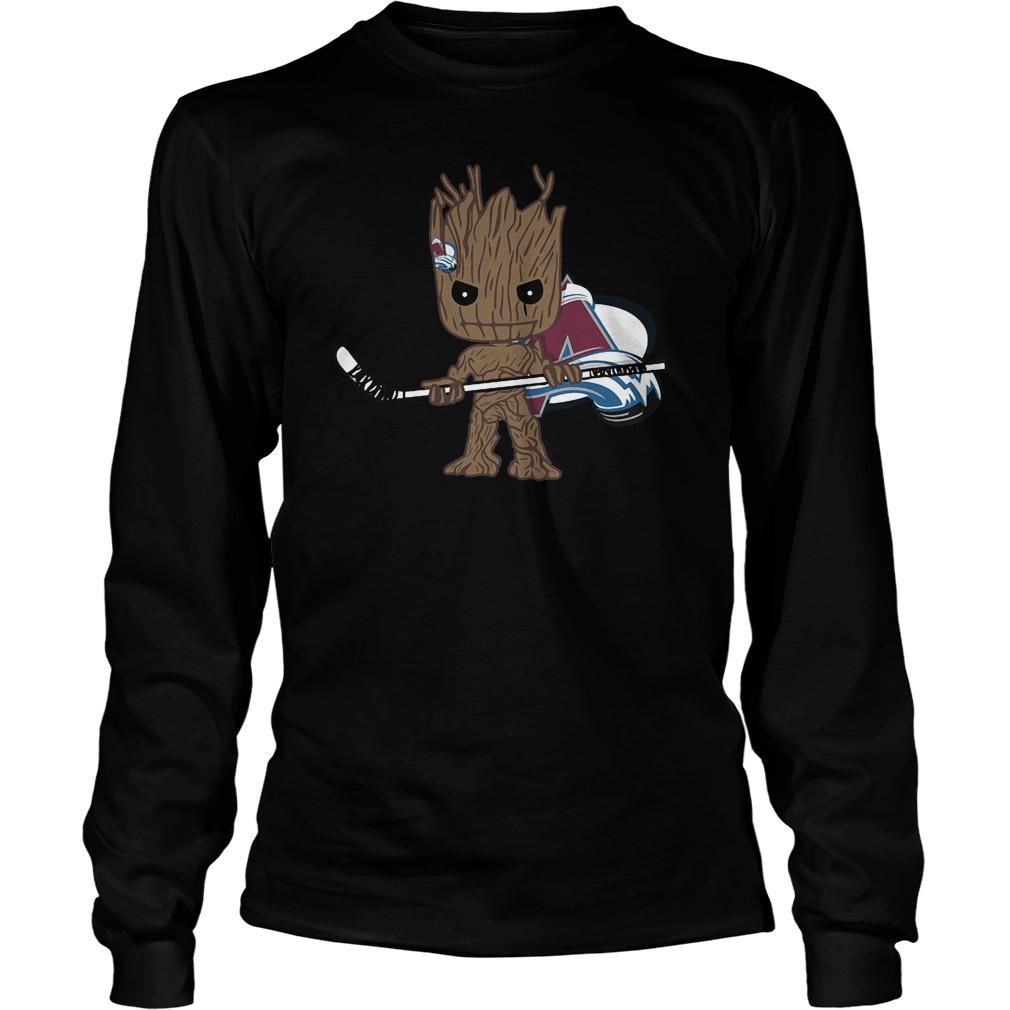 Baby Groot I Am Ice Hockey Player Team Colorado Avalanch T-Shirt Unisex Longsleeve Tee