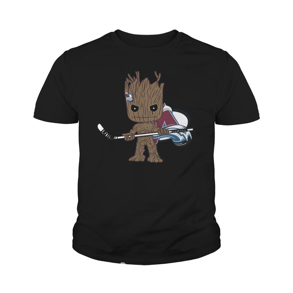 Baby Groot I Am Ice Hockey Player Team Colorado Avalanch T-Shirt Youth Tee
