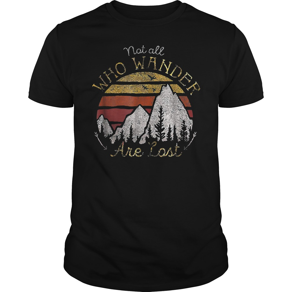 Gradient Mountain Gold Not All Who Wander Are Lost T-Shirt Guys Tee