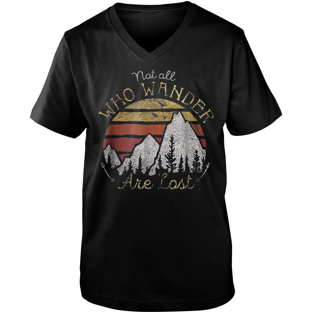 Gradient Mountain Gold Not All Who Wander Are Lost T-Shirt Guys V-Neck