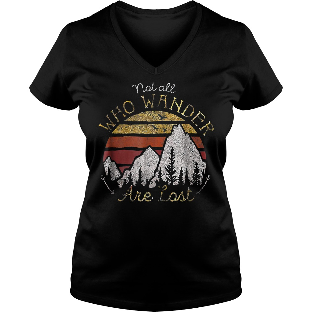 Gradient Mountain Gold Not All Who Wander Are Lost T-Shirt Ladies V-Neck