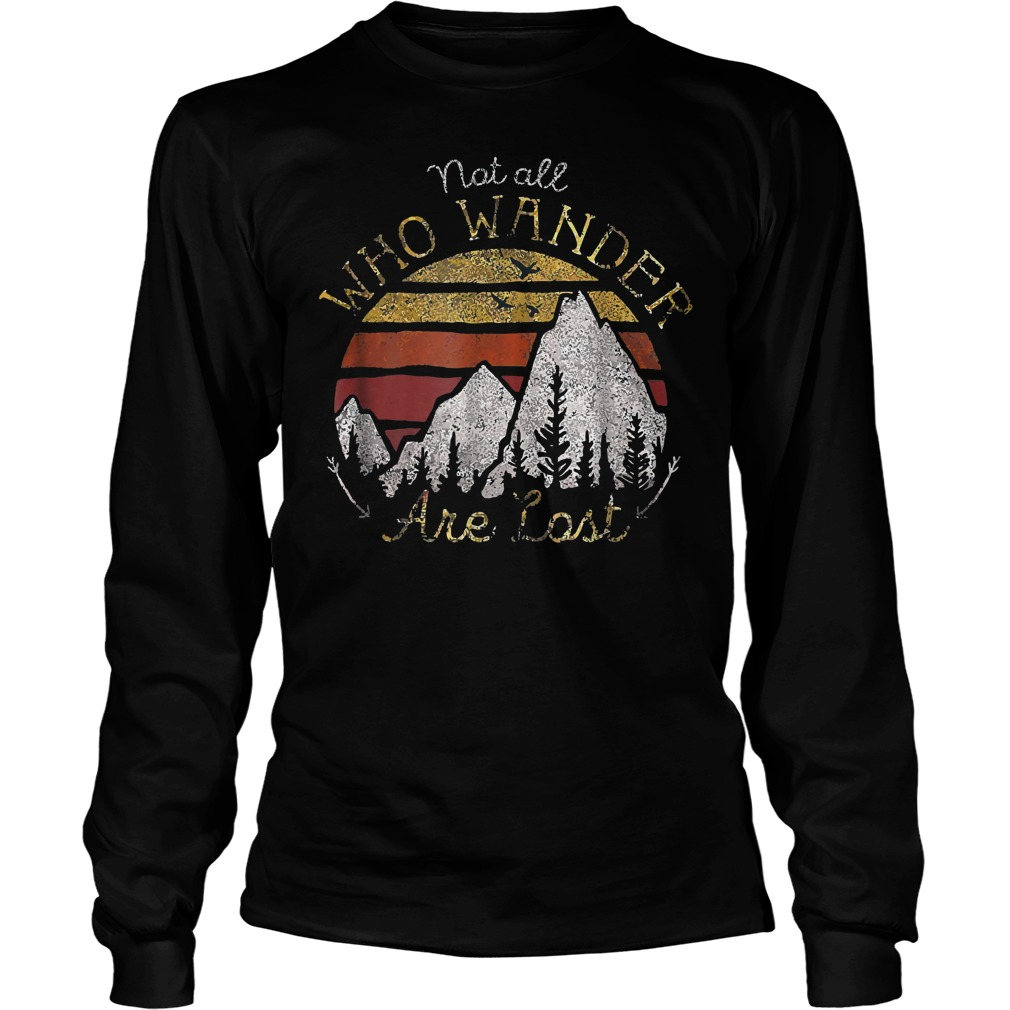 Gradient Mountain Gold Not All Who Wander Are Lost T-Shirt Unisex Longsleeve Tee