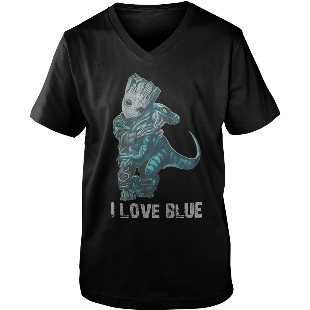 I Love Blue Baby Groot Hug Velociraptor T-Shirt Guys V-Neck