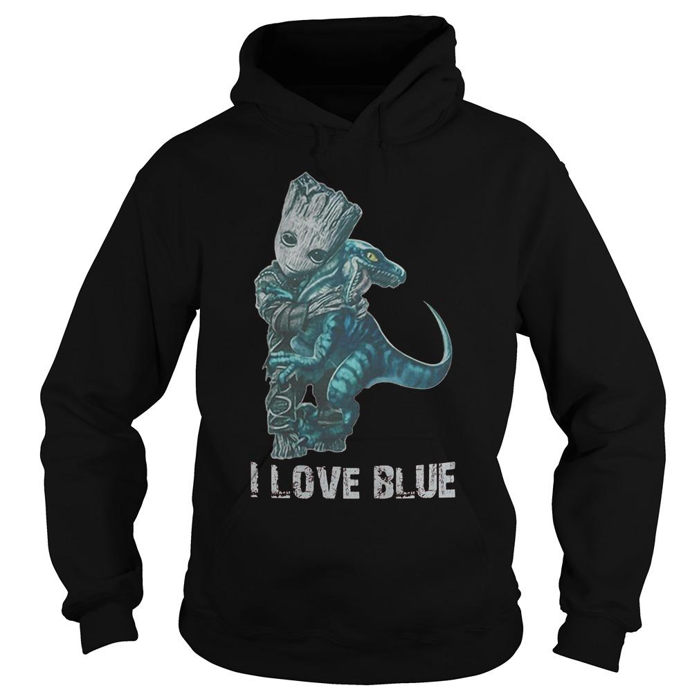 I Love Blue Baby Groot Hug Velociraptor T-Shirt Hoodie