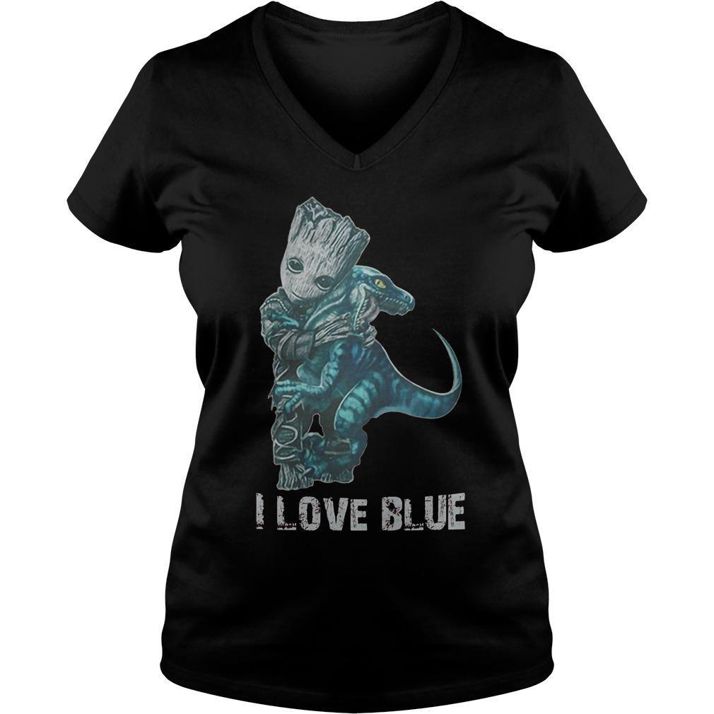 I Love Blue Baby Groot Hug Velociraptor T-Shirt Ladies V-Neck