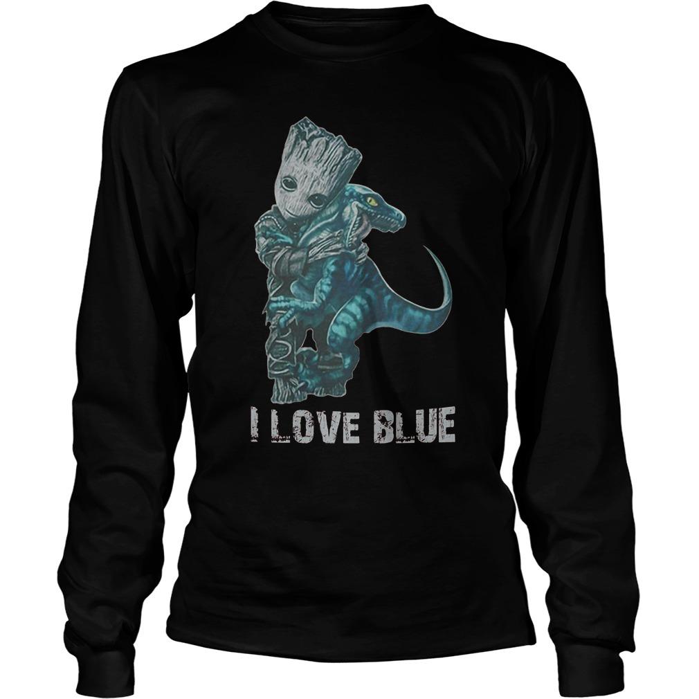 I Love Blue Baby Groot Hug Velociraptor T-Shirt Unisex Longsleeve Tee