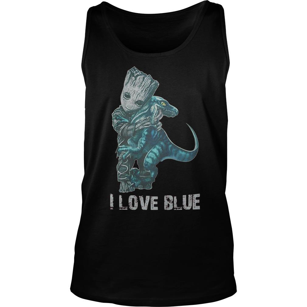 I Love Blue Baby Groot Hug Velociraptor T-Shirt Unisex Tank Top