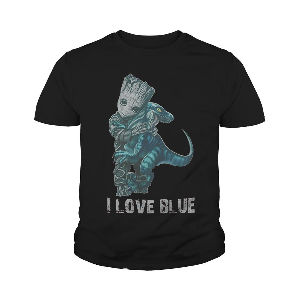 I Love Blue Baby Groot Hug Velociraptor T-Shirt Youth Tee