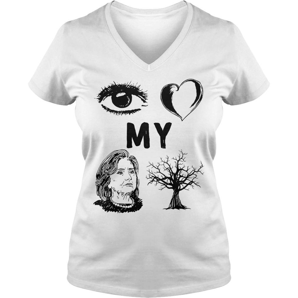 I Love My Country Hillary Clinton T-Shirt Ladies V-Neck