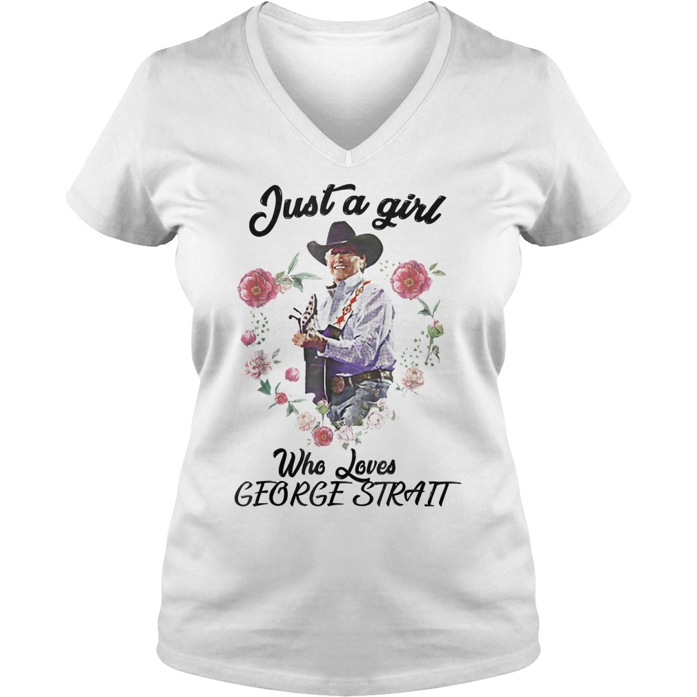 Just A Girl Who Loves Music Guitar Singing George T-Shirt Ladies V-Neck