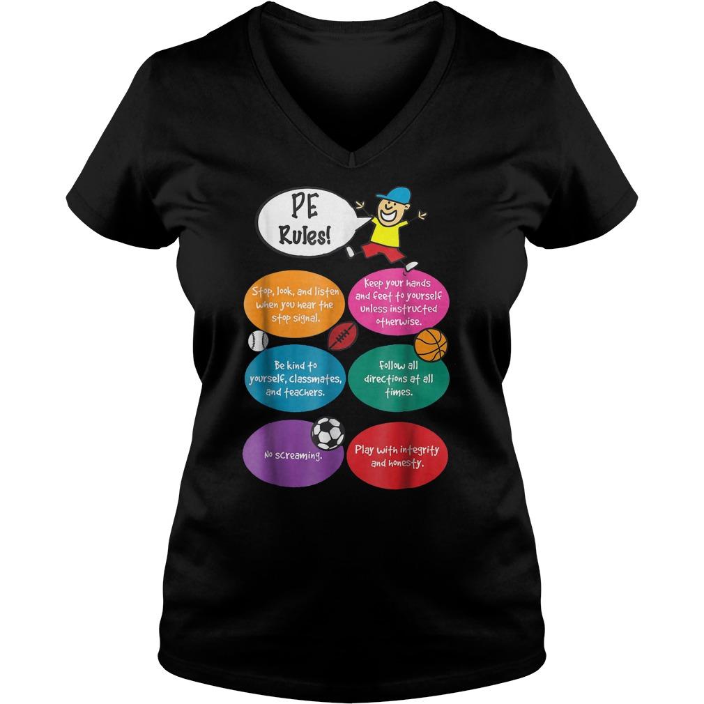 P.E. Rules Physical Education T-Shirt Ladies V-Neck