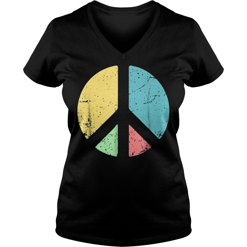 Peace Sign Love T-Shirt Ladies V-Neck
