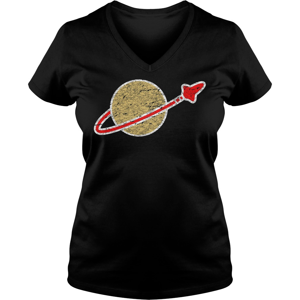 Retro Lego Space Logo T-Shirt Ladies V-Neck