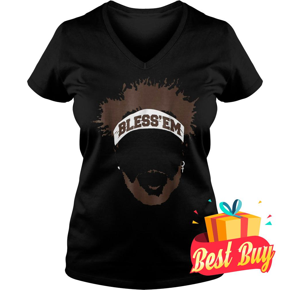 Best Price Bless Em Browns Football shirt Ladies V-Neck