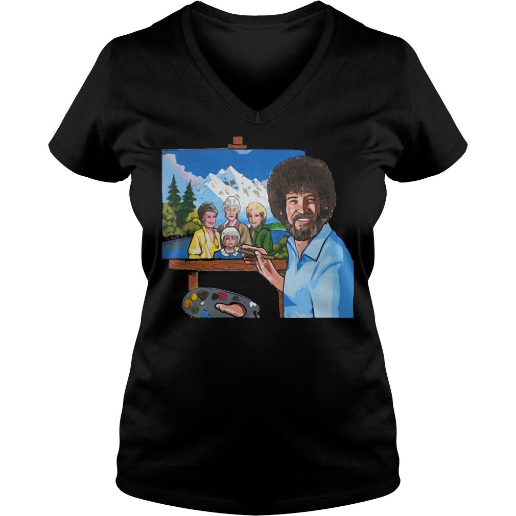 Best Price Bob Ross Painting The Golden Girl shirt Ladies V-Neck
