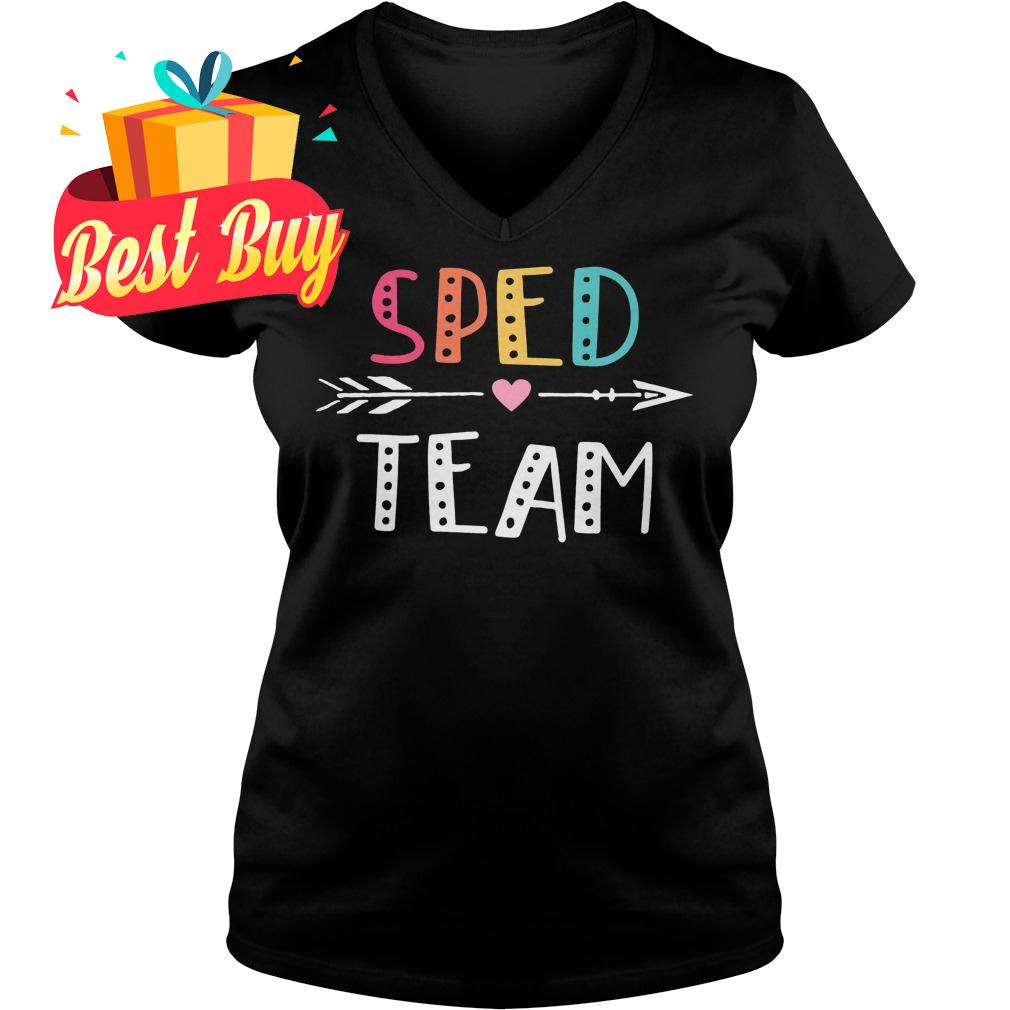 Best Price Sped Team Cute Colorful Shirt Ladies V-Neck