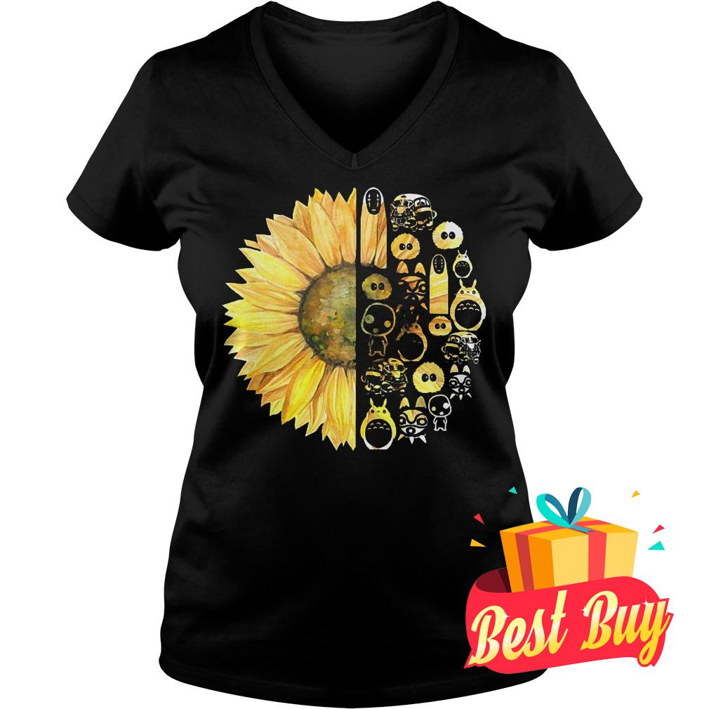 Best Price Sunflowers and studio ghibli shirt Ladies V-Neck