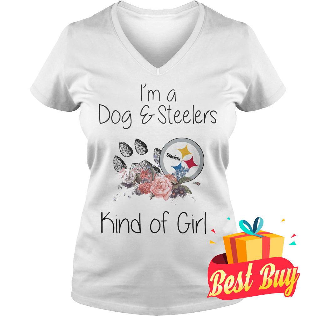 Official I'm a Dog Steelers kind of girl shirt Ladies V-Neck