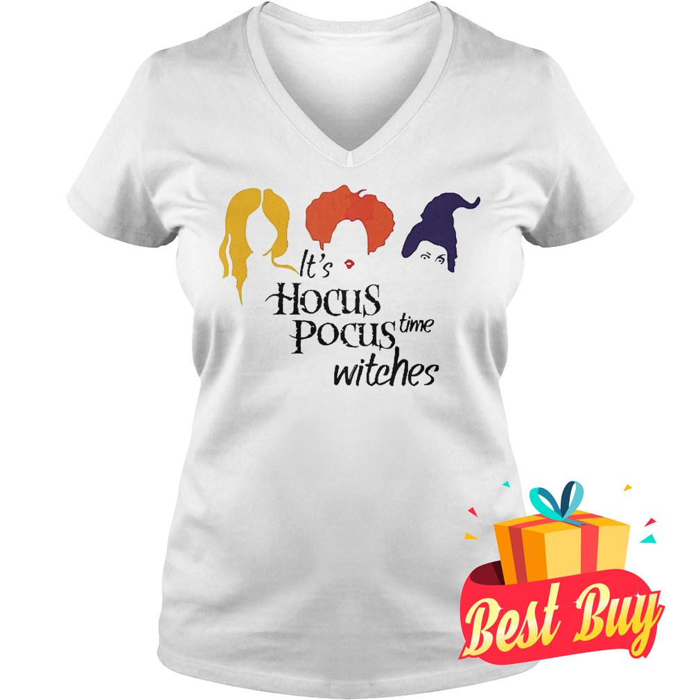 Official It's hocus pocus time witches shirt Ladies V-Neck