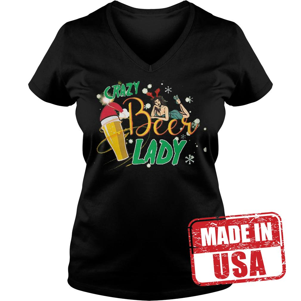 Original Crazy beer lady shirt Ladies V-Neck