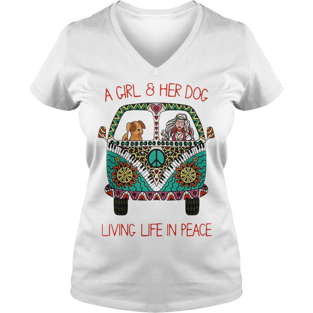 Original Hippie Car A Girl And Her Dog Living Life In Peace Shirt Ladies V-Neck