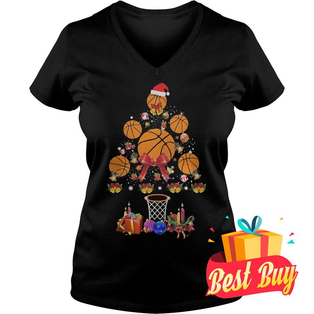 Premium Basketball Christmas tree shirt Ladies V-Neck