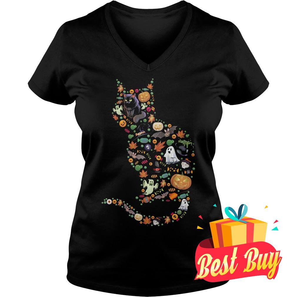 Premium Halloween Cat shirt Ladies V-Neck