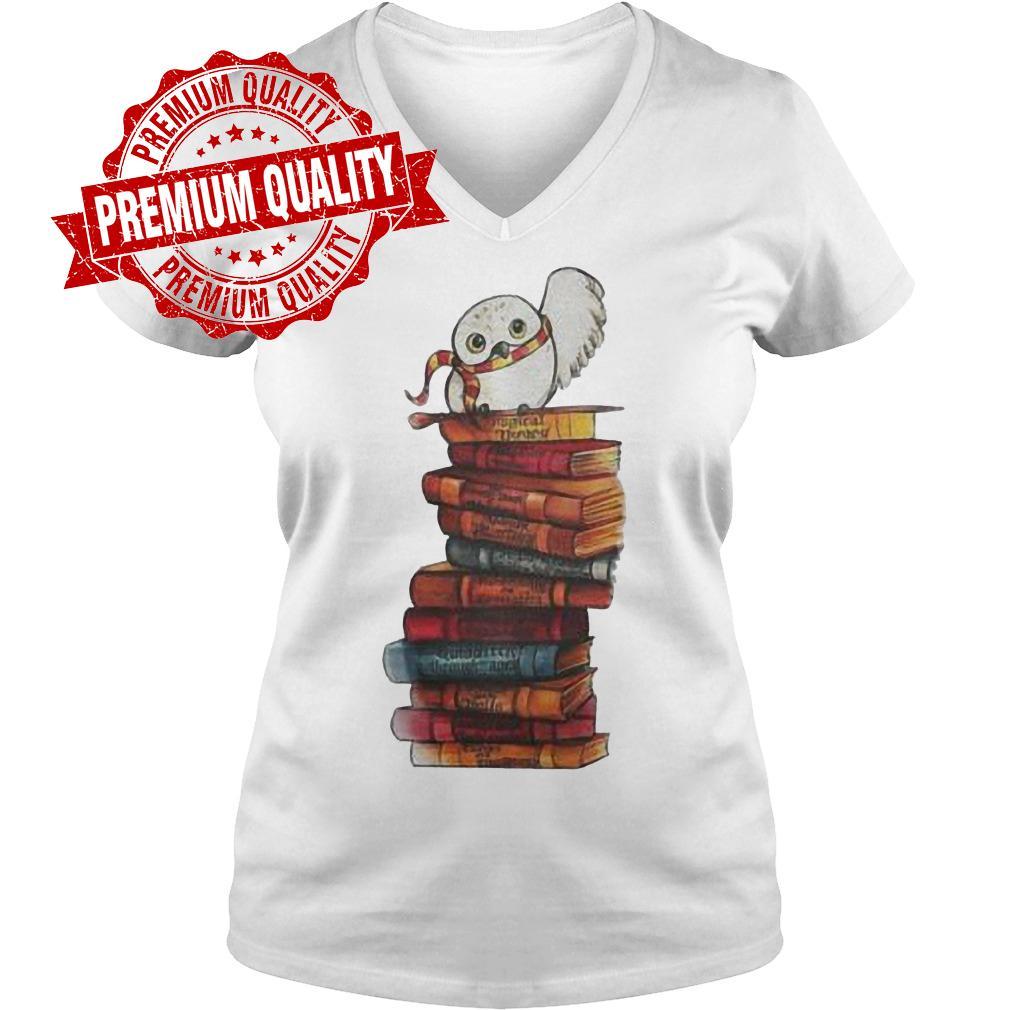 Premium Harry Potter - Owl And Books Shirt Ladies V-Neck