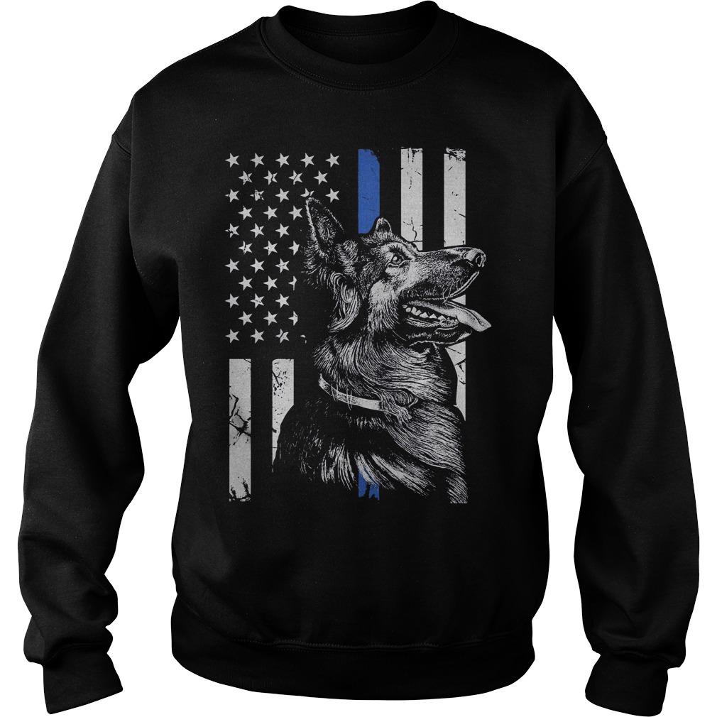 German Shepherd Police K9 Thin Blue Line Flag Shirt Sweatshirt Unisex