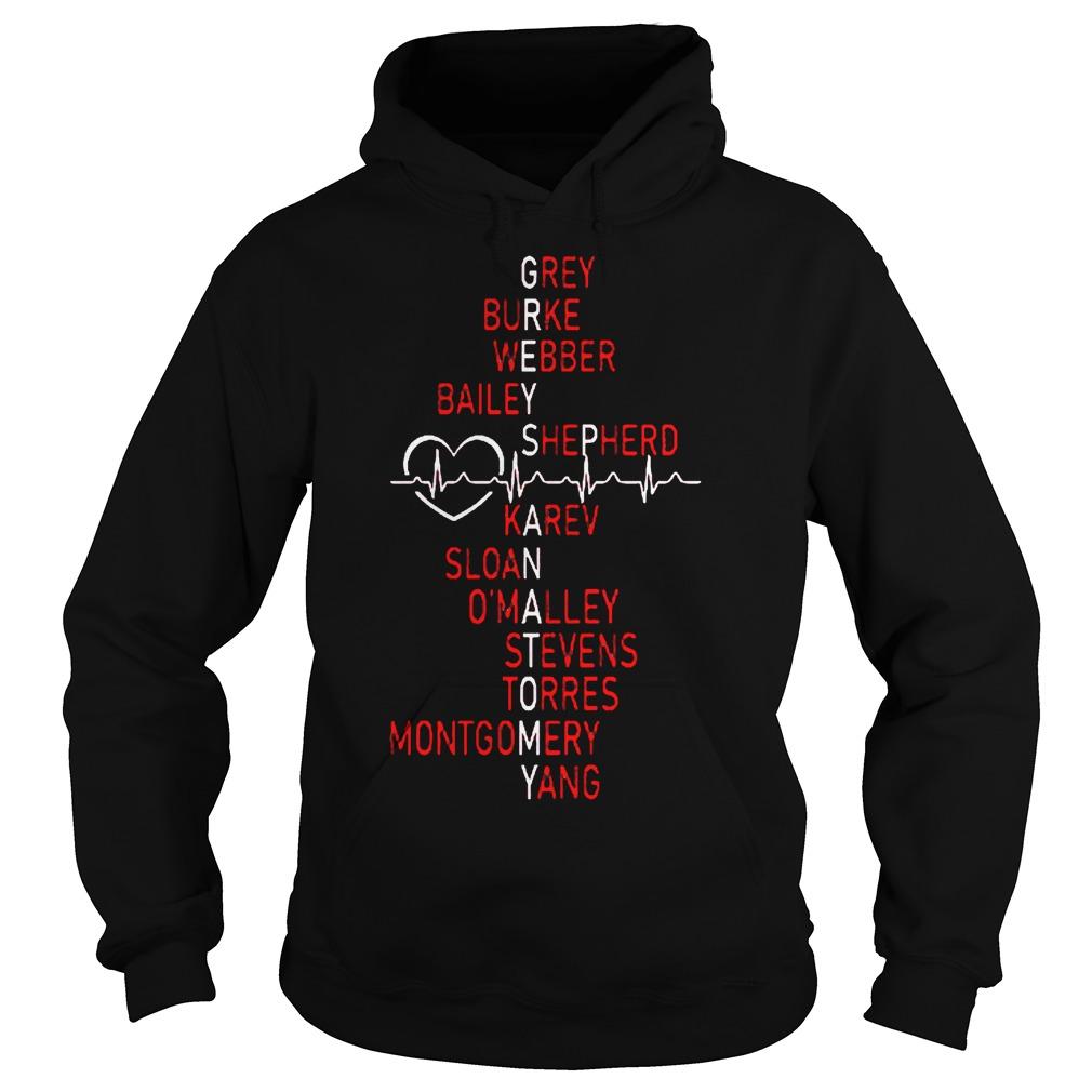 Heartbeat Grey burke webber bailey shepherd karev sloan omalley shirt Hoodie