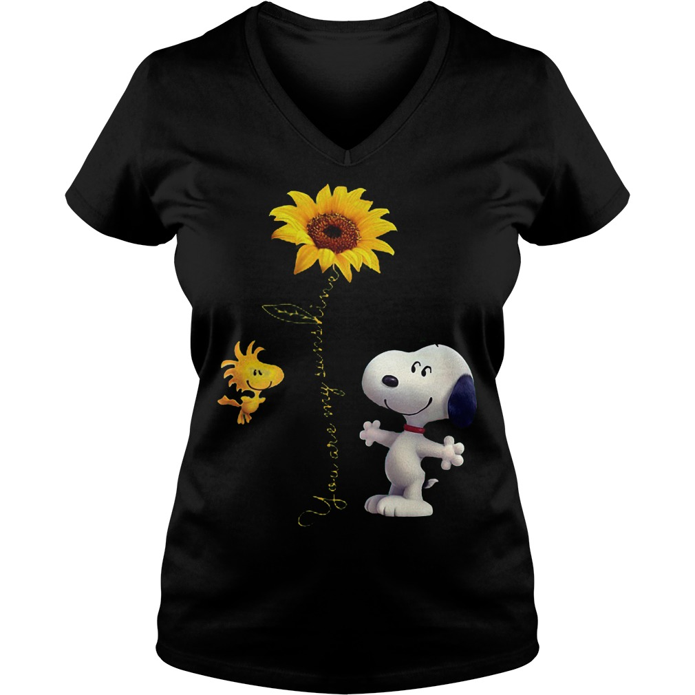 Original Sunflowers and Snoopy You are my sunshine Shirt Ladies V-Neck