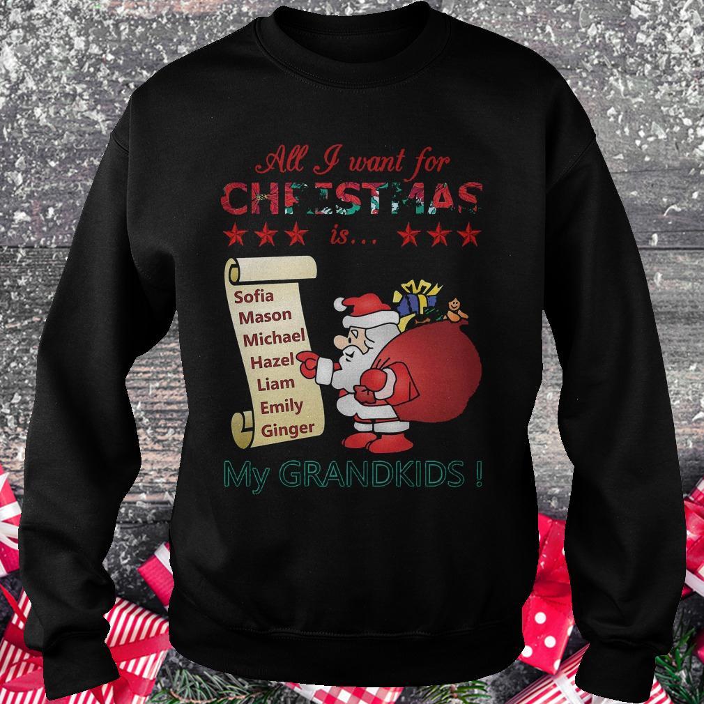 All i want for Christmas is Sofia Mason Michael Hazel Liam Emily Ginger my grandkids shirt Sweatshirt Unisex