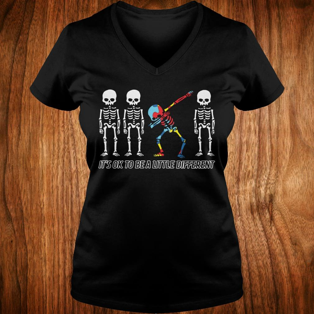 Best Price Autism skeleton dabbing it's ok to be a little different sweatshirt Ladies V-Neck