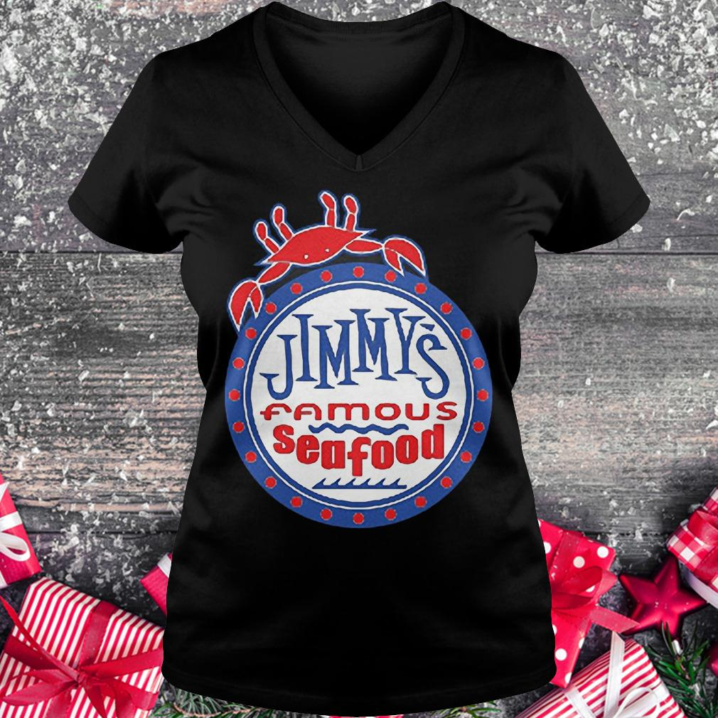 Jimmy's famous seafood Jimmy's flag shirt Ladies V-Neck