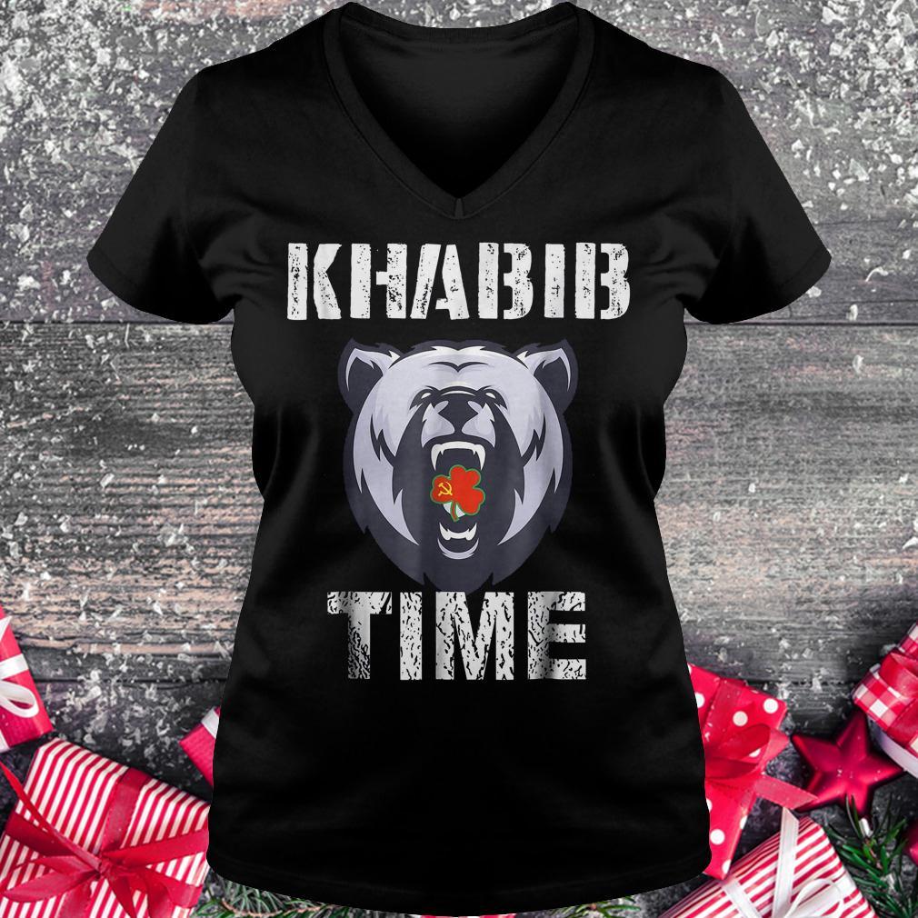 Khabib time bear shirt Ladies V-Neck