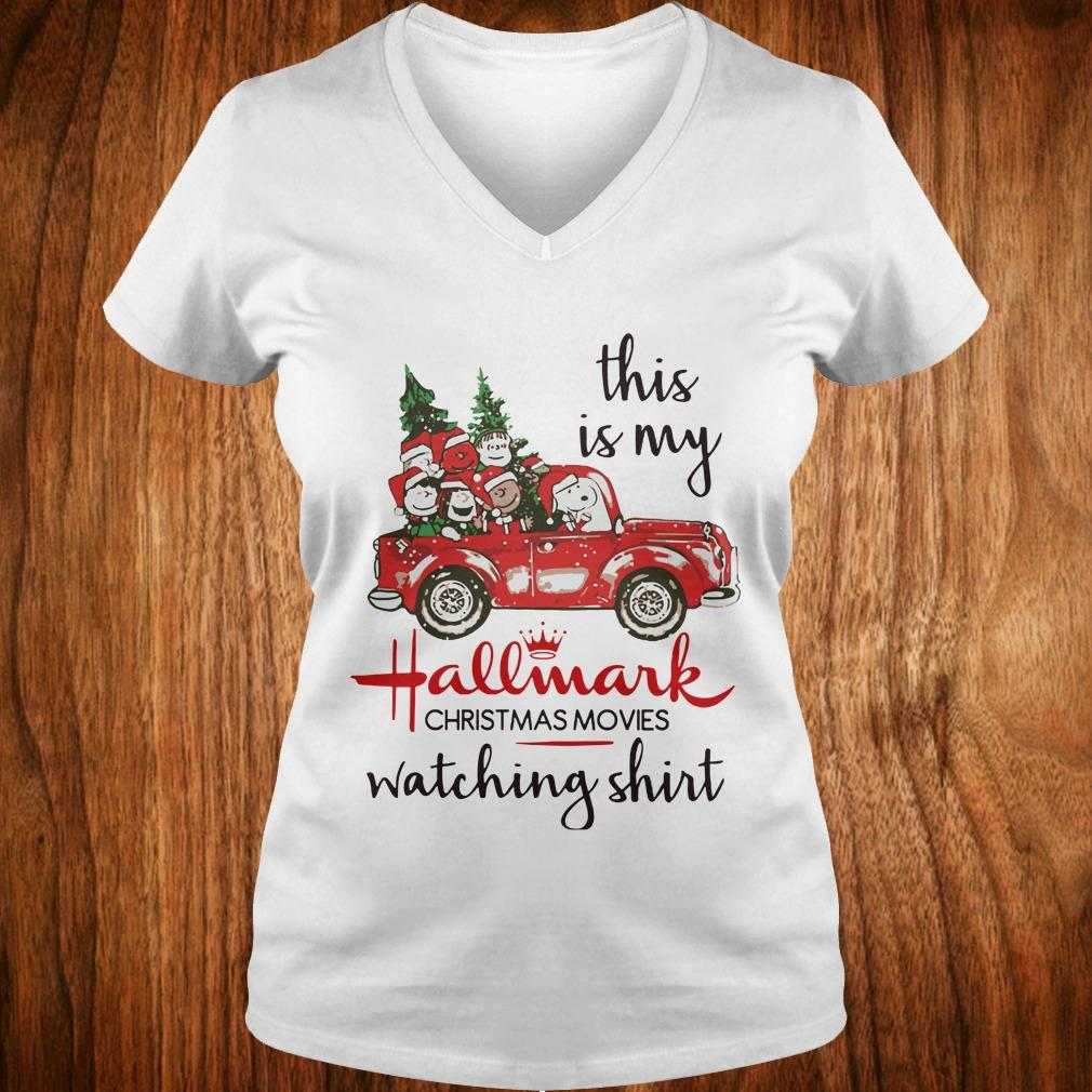 Nice Snoopy this is my Hallmark christmas movie watching shirt Ladies V-Neck