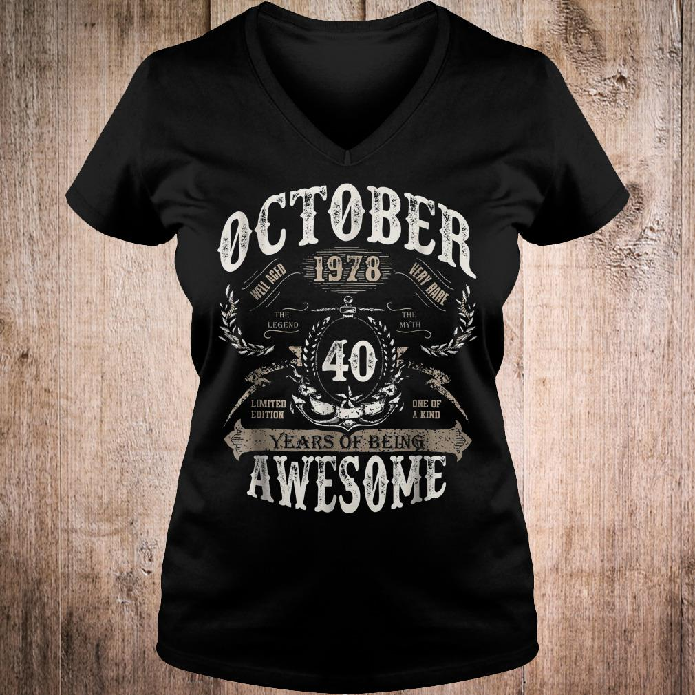 October 1978 40 years of being awesome shirt Ladies V-Neck