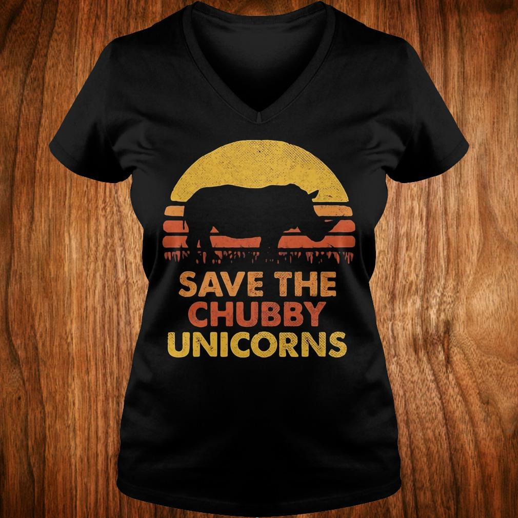 Official Retro Sunset Rhino save the chubby unicorns shirt Ladies V-Neck