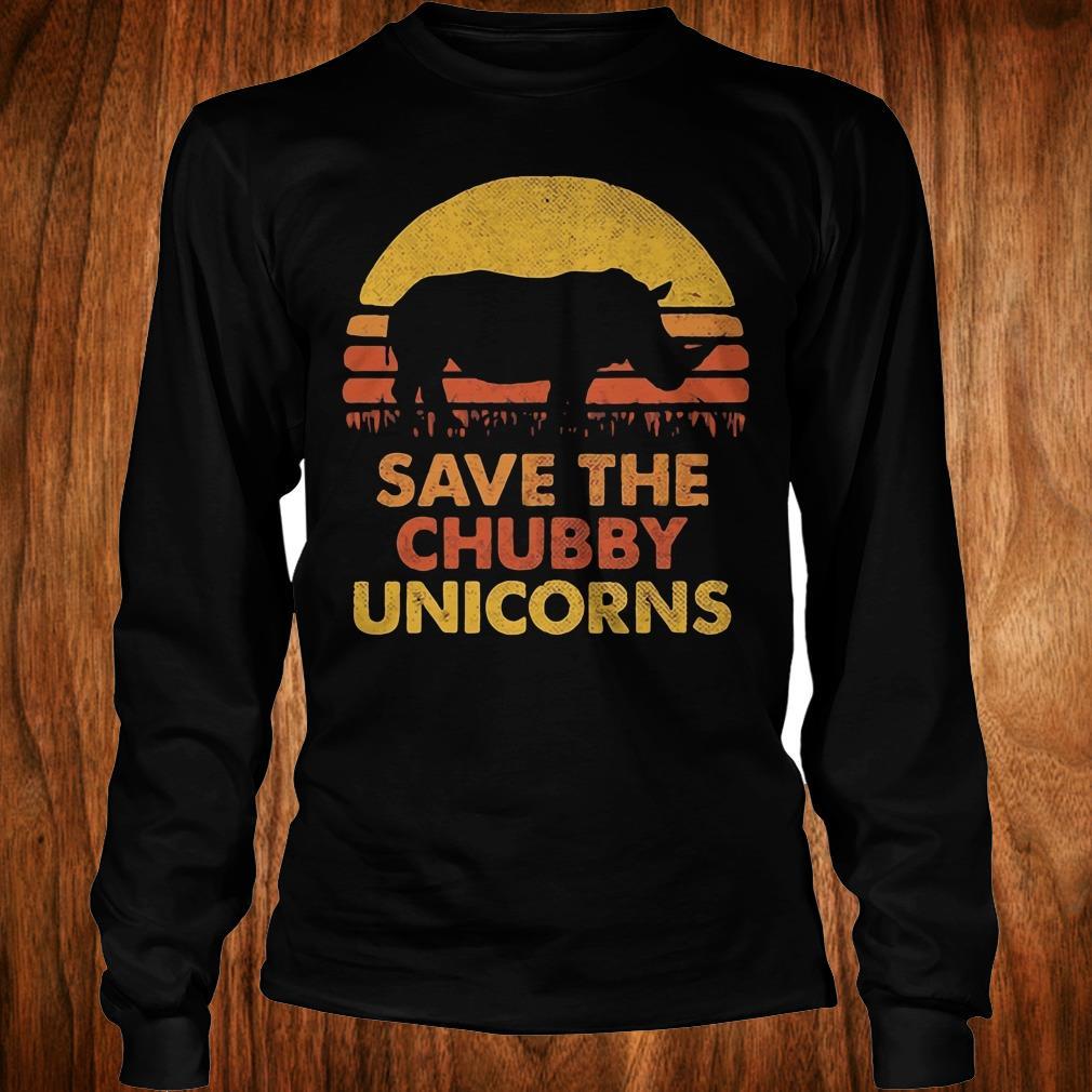 Official Retro Sunset Rhino save the chubby unicorns shirt Longsleeve Tee Unisex