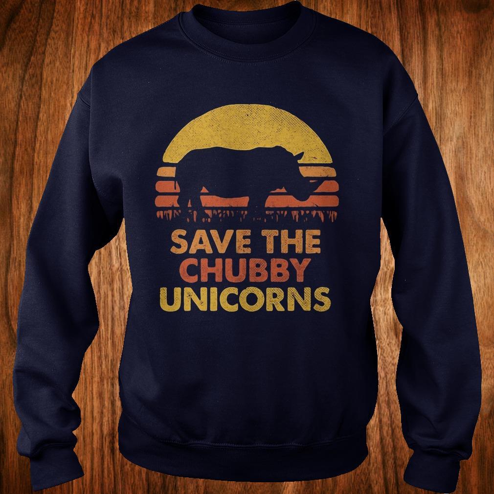 Official Retro Sunset Rhino save the chubby unicorns shirt Sweatshirt Unisex