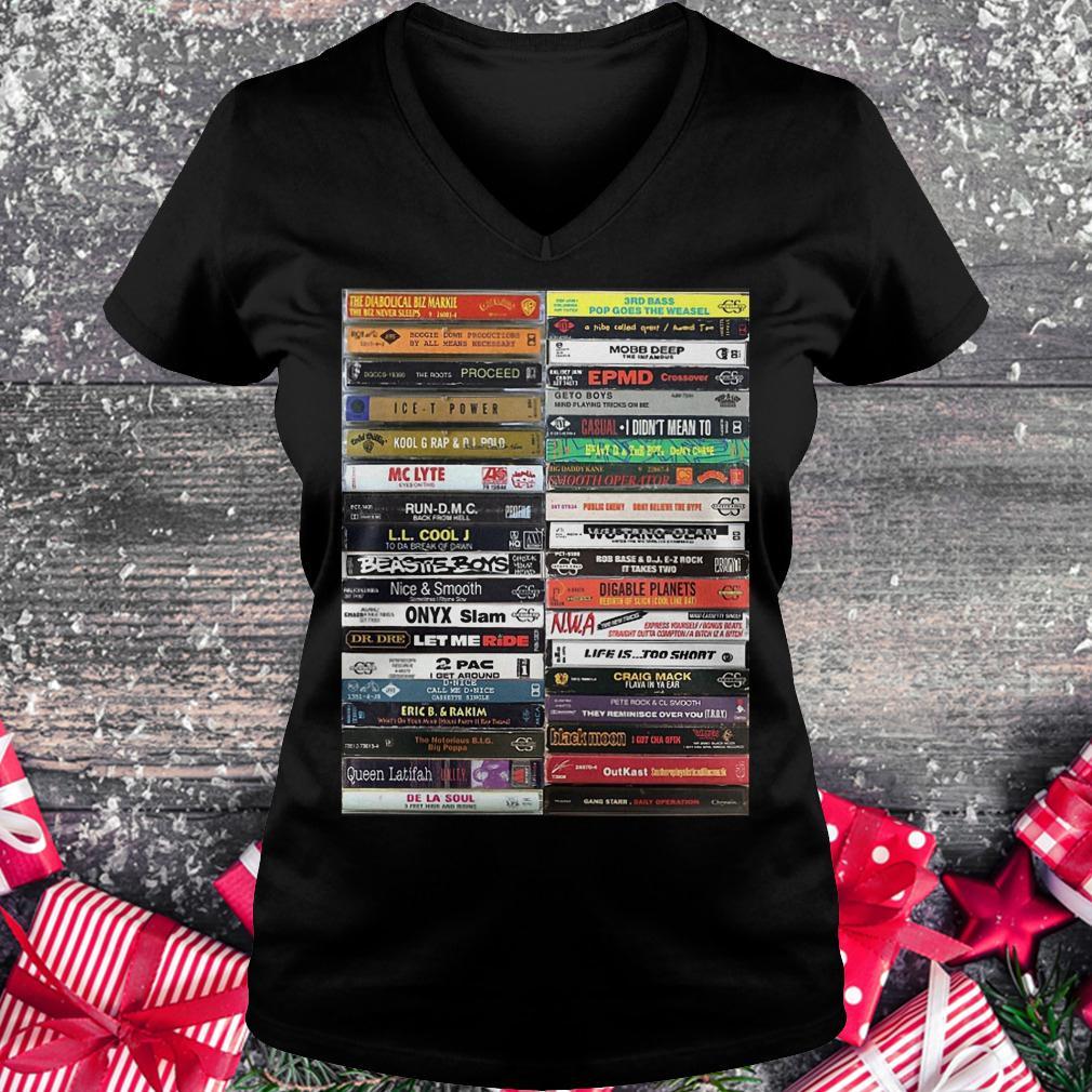 Old school cassette tapes shirt Ladies V-Neck