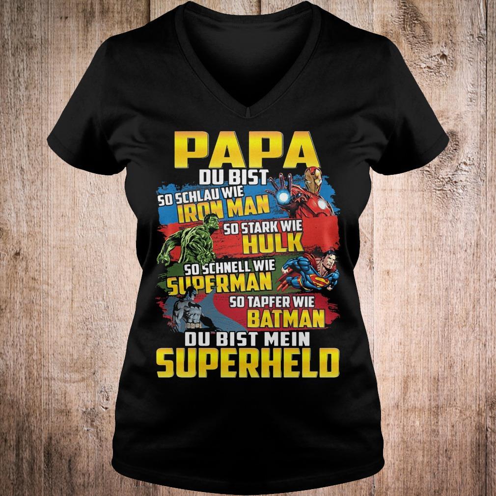 Papa du bist so schlau wie Iron man Hulk Superman Batman Superhelo shirt Ladies V-Neck