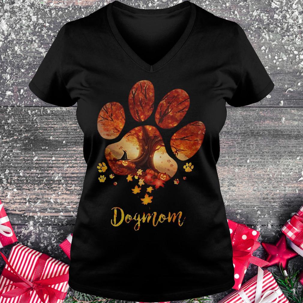 Paw dogmom halloween tree shirt Ladies V-Neck