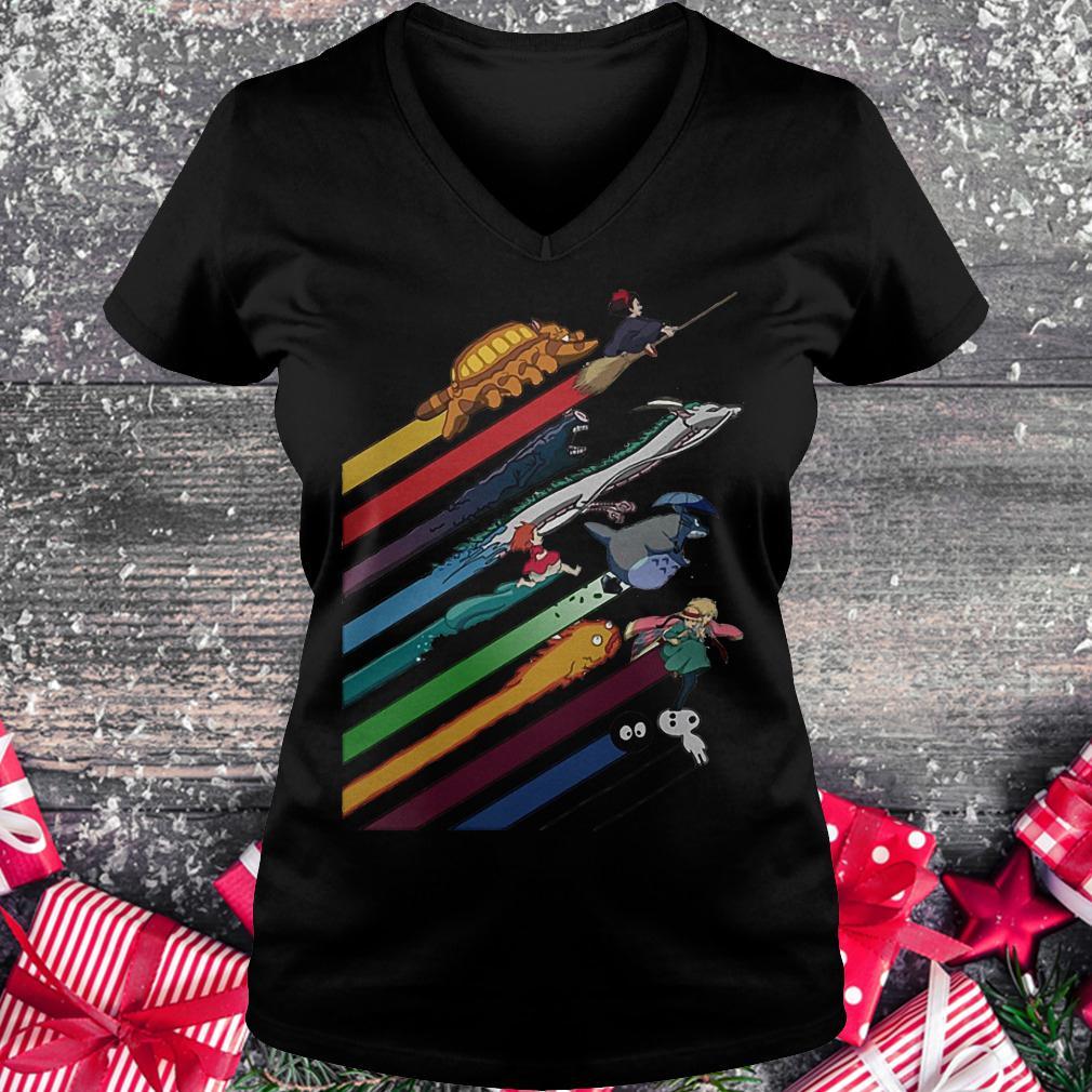 Rainbow Studio Ghibli shirt Ladies V-Neck