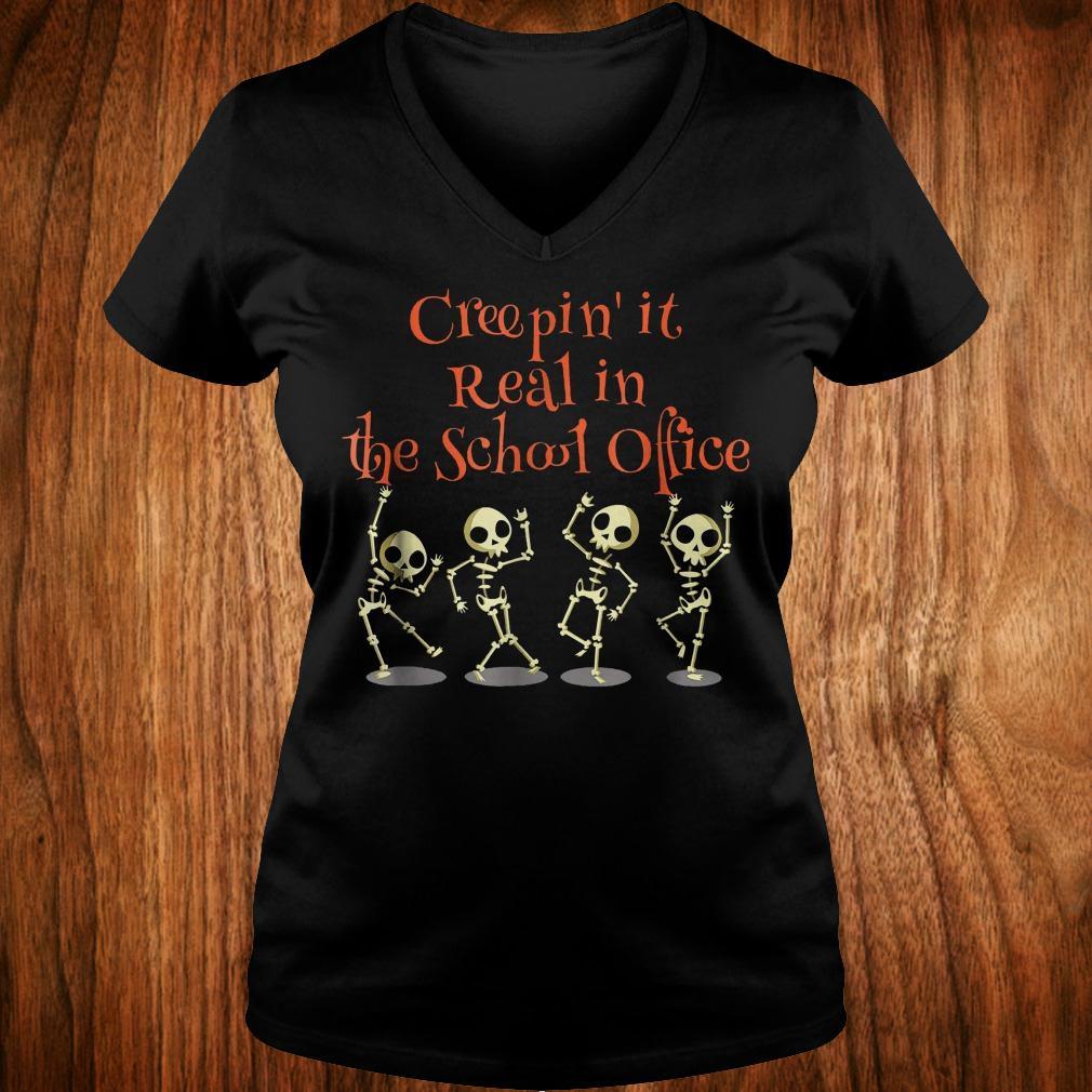 School office Clerk Creepin it real halloween teacher shirt Ladies V-Neck