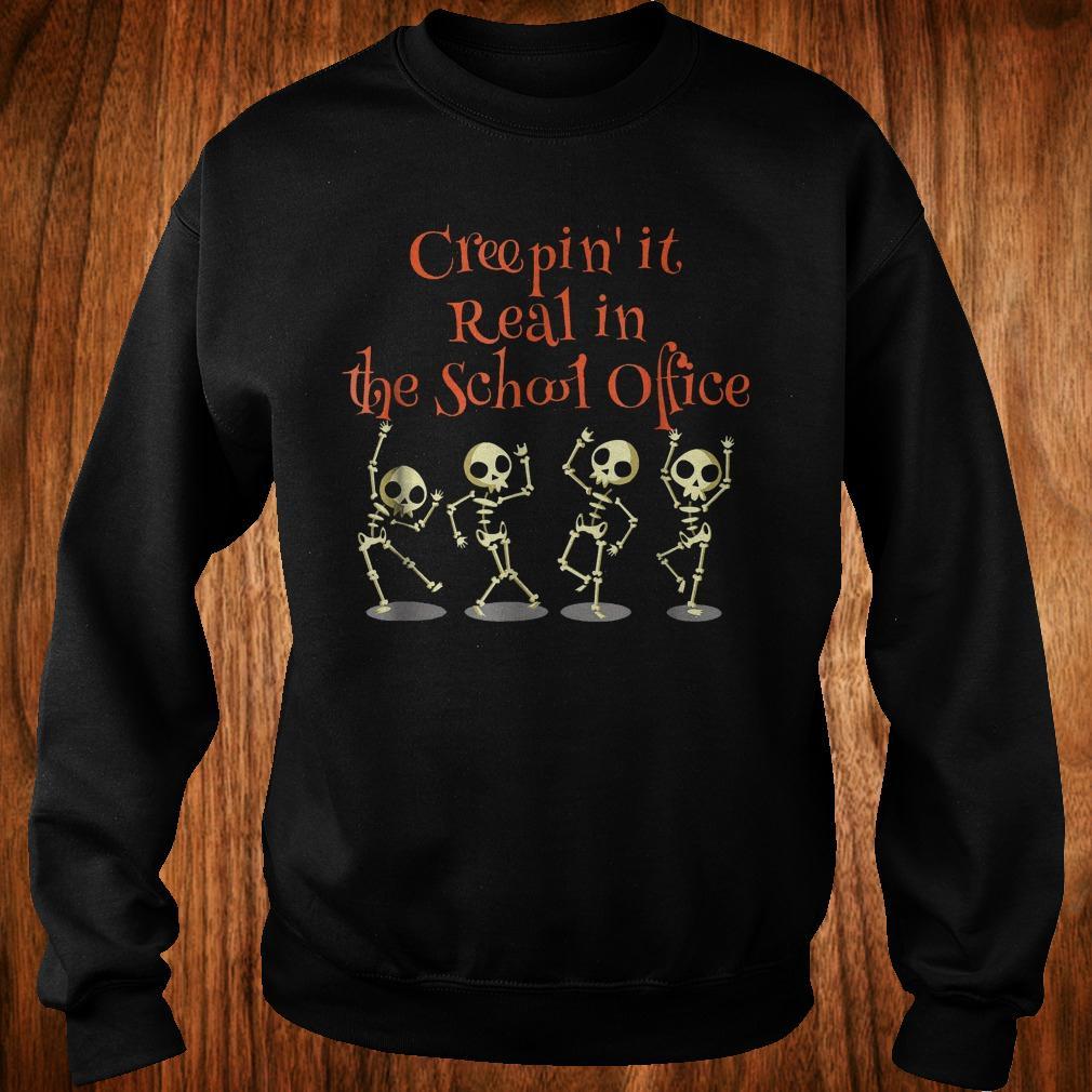 School office Clerk Creepin it real halloween teacher shirt Sweatshirt Unisex